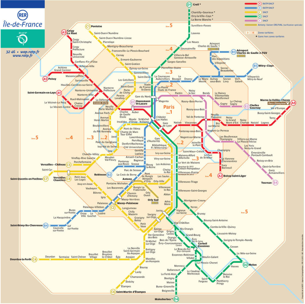 RER ( tog ) kort Paris og omegn
